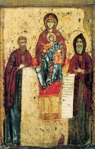 Богоматерь Свенская с преподобными Антонием и Феодосием Печерскими. Около 1288, ГТГ