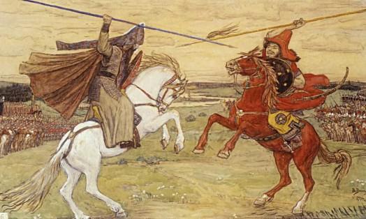 Поединок Пересвета с Челубеем (перед Куликовской битвой). (худ. Васнецов В. М., 1914)