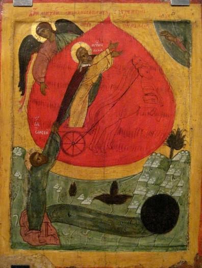Огненное восхождение пророка Илии. Нижегородская школа, XV- нач. XVI вв.